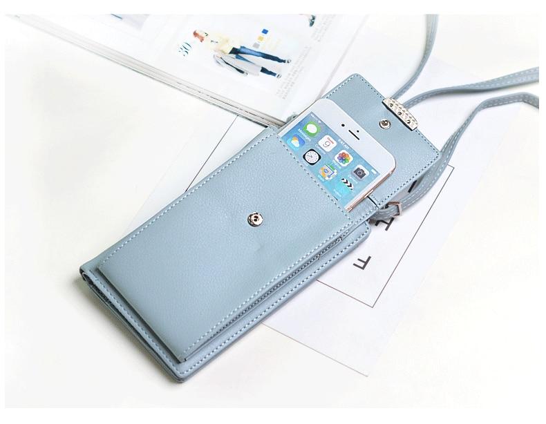 19 New Women Casual Wallet Brand Cell Phone Wallet Big Card Holders Wallet Handbag Purse Clutch Messenger Shoulder Straps Bag 29