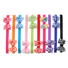 10pcs Cute baby children hair band bow wave stripe Elastic Ribbon headband Elastic Cloth Wave Bowknot Photography for girls
