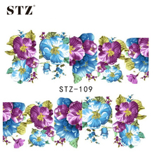 STZ 1sheets Casual Flourishing Blue Purple DIY Designs Water Transfer Decals Wraps Nail Art Stickers Polish Styling Tools STZ109