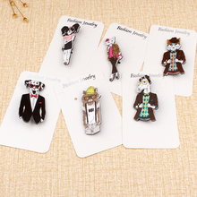 1pc Acrylic Travel Dog Lady Cat Pins And Brooches For Women Girl Fashion Badge Plane Set Brooch Funny Pin Jewelry Bijouterie