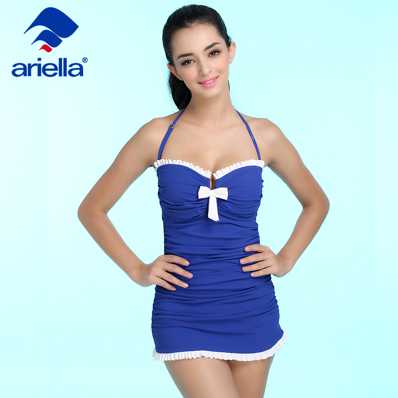 Sexy Swimwear One Piece Swimsuit Women Summer Beach Vintage Retro High Waist Bathing Suit Swim Dress Beachwear ari-21F 5102<br>