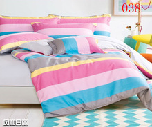 Twin Full Queen Pink Blue Cotton Fitted Sheets 4pcs Bedding Set Bedclothes Home Bed Linens Fitted Sheets Duvet Cover Pillowcase