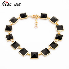 KISS ME High-end Bib Statement Necklace New Collares 2017 Fashion Black Square Imitation Gemstone Necklace Jewellry