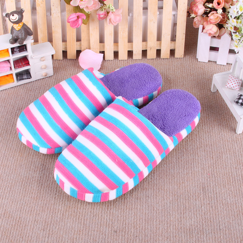 2016 New Winter Home Shoes Furnishing Rainbow Stripe Soft Soled Cotton Slippers Women Indoor Female Slippers Cotton-Padded Shoes<br><br>Aliexpress