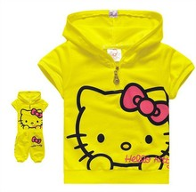 2016 new fashion  hello kitty children's clothing sets t shirt + shorts 2pcs girls suits cotton kids clothes retail