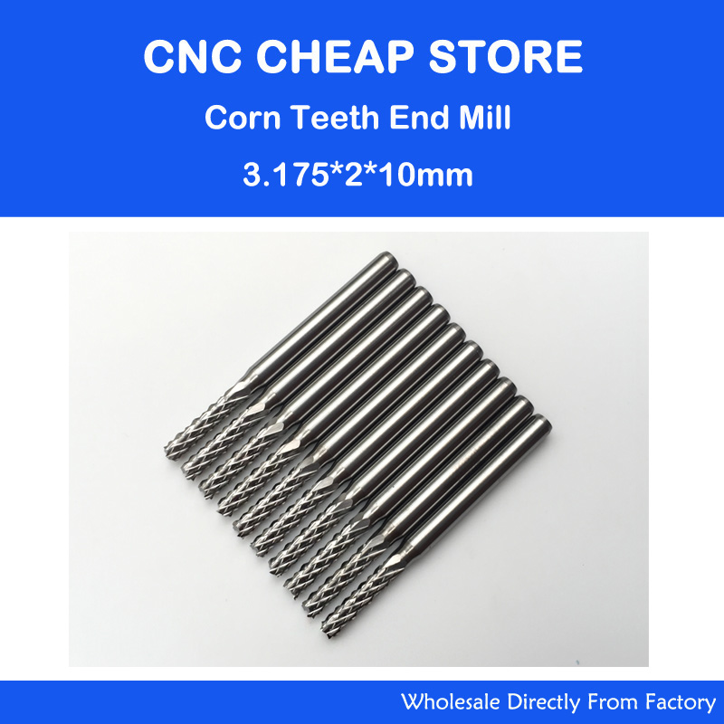 Free shipping 10pcs Carbide 3.175*2mm*10mm End Mill Engraving Bits CNC Rotary Burrs Set corn milling cutter PCB router bits<br><br>Aliexpress