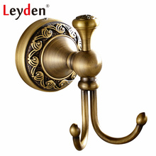 Leyden Antique Brass/ ORB Double Towel Hook Clothes Hook Wall Mounted Copper Coat Hooks Vintage Hooks Robe Bathroom Accessories