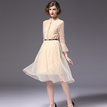 Buy Women Pleated Dress Evening Party Beige Color Patchwork Mesh Lace Dresses Sash Slim Fit Elegant Ladies Clothes ssd003 for $39.98 in AliExpress store