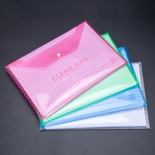 2Pcs A4 format file holder Thicken button Clear bag Archives file Bag Office stationery Student School supplies(China)