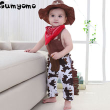Baby Cowboy Romper Costume Infant Boy Girl Clothing Set 3pcs Hat +Bibs + Overalls Romper Halloween Event Birthday Outfits