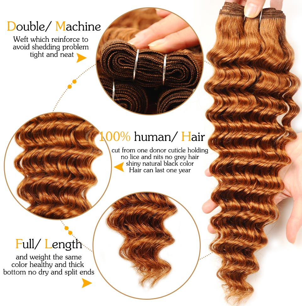 Pinshair Pre-Colored 10-26 Brazilian 4 Bundles Deep Wave Color 30 Hair Weaves 100gbundle 100% Human Hair Thick Wefts Non-Remy (34)