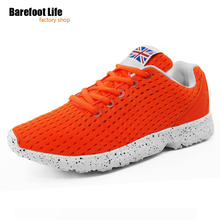barefoot life orange light air mesh breathable athletic sport running shoes of woman and man, sneakers woman and man