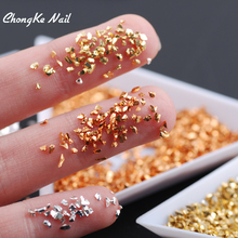 Top Quality Mine Gold Silver Color Nail Art Crushed Glass Nail Stones Rhinestone Decoration 20g/pack(China)