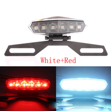 1pcs LED Tail Brake Backup Stop License Plate Light Lamp For Motorcycle Scooter Electric Bicycle White Red Color Free Shipping