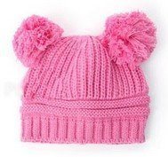2 Colors Infant Kids Girl Boy Dual Balls Warm Winter Knitted Hat Beanie Cap for Baby pink Begie Color