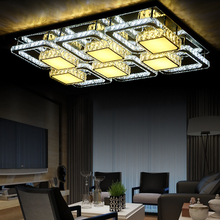 Crystal Led Ceiling lamp modern lampen Square Lustre Luminarias living dining room deckenleuchten de cristal livingroom lights(China)