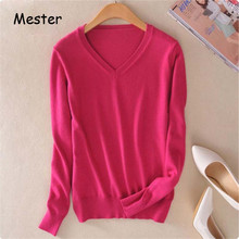 2017 Spring Women V Neck Knitwear Solid Colors Thin Cashmere Sweater Ladies Fashion Slim Long Sleeve Pullover Bottoming Shirt