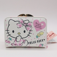 2017 news short wallet female High quality PU lady card wallet hello kitty bag 2 style can be choose
