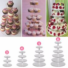 Clear Acrylic Cake Stand Round Cup Cupcake Holder 3/4/5/6 Tiers Dessert Display Stand Wedding Birthday Party Events Decoration
