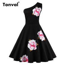Tonval Women One Shoulder Floral Summer Dress 2017 Vintage Embroidery Sexy Party Dresses Plus Size Black Retro Dress(China)