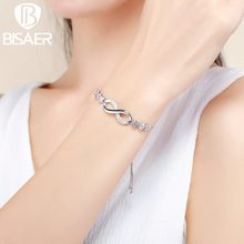 Hotsale Silver Plated Symbol of Infinity, Endless Love Strand Bracelets for Women Original Authentic Jewelry Gift WEYB037(China)