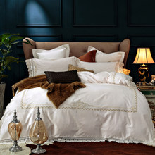 New 4/6 Pieces Cream Queen King Luxury Royal Wedding lace Bedding sets 60S Egyptian cotton Duvet cover Bed sheet set Pillowcase(China)