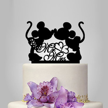 2017 Real Rushed Acrylic Micky Minnie Wedding Cake Topper/Wedding Stand/Wedding Decoration Wedding Cake Accessories Casamento