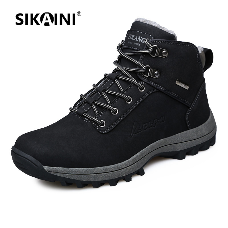 SIKAINI Brand Winter Men Martin Boots High Quality Wool Genuine Leather Keep Warm Comfortable Durable Outdoor Climb Hiking Shoes<br>