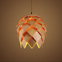 Modern solid Wooden creative Pinecone Pendant Light Wood Artichoke lampshade hanging Lamp Dinning Room decorate lighting fixture