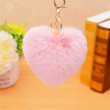 Fur Love Heart Shape Keychain Cute Soft Pom Pom Pendant Phones Car Bag Charm Tag Key Ring Key Chain 2C0296