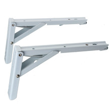 New Arrival 2pcs White Paint Steel Triangle Shelf Brackets Spring Design Wall Mounted Folding Screws High Quality