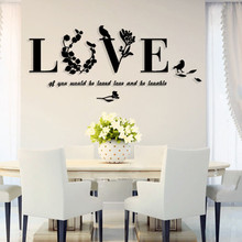 Stylish Removable 3D Leaf LOVE Wall Sticker Art Vinyl Decals Bedroom Decor Mirror Wall stickers Living BedroomRoom Home decor