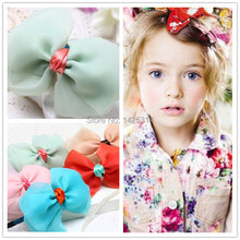 Alice in Wonderland Girls Snow yarn Double Bowknot Hair Clasp Children Performing hair bands Silk Princess Hair accessories 6Pcs(China)