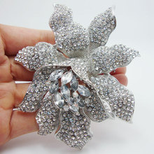 Fashionable Jewelry  Romantic Clear Rhinestones Crystal  Orchid Flower Brooch Pin Wedding Bridal Jewelry