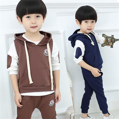 Spring autumn autumn leisure sports in children comfortable sweater three piece<br>