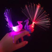 New Party Glowing Luminous Ring Finger Light Favors Colorful Luminous Peacock Shape Finger light-emitting Children's Toys