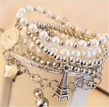 Free shipping! Wholesale nice plated silver women eiffle tower bangles Smart multi-layer chain bracelets jewelry. 6pcs