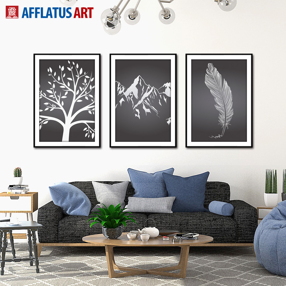 AFFLATUS Decoration Painting Minimalist Black White Canvas Painting