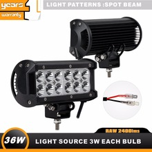 4PCS 6INCH 36W LED Work Light Bar off road UTV ATV Black spot beam 6000K driving lamp