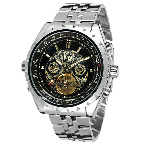 WINNER Men Business Automatic Mechanical Watch Tourbillion Calendar Date Skeleton Analog Dial Stainless-steel Band montre homme<br>