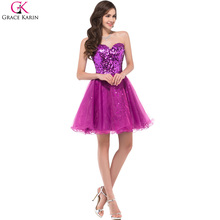 Sparkly Bridesmaid Dresses Grace Karin Purple Black Gold Sequins Short Maid of Honor Dress 2017 Ombre Wedding Party Gowns