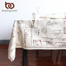 BeddingOutlet Eiffel Tower Tablecloth Dinner Table Cloth Cotton Linen Multi Sizes Lacy Table Cover Macrame Home Decor Washable(China)