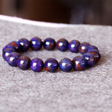 AAA South Africa High Quality Natural Genuine Purple Blue Sugilite Stretch Finish Bracelet Round Big beads 11mm 05018