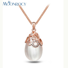 MOONROCY Free Shipping Rose Gold Color Cubic Zirconia Opal Crystal Necklace Vintage Waterdrop for Women Girls Choker Gift