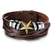 fashion retro vintage men bracelets good quality leather bracelet for man wholesales promotion jewelry accesories(China)