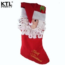 KTLPARTY 60cm*25cm felt large Santa Claus christmas stocking children gift bag(China)