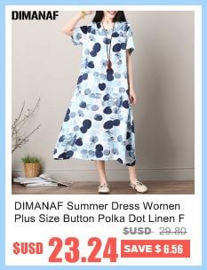 DIMANAF Women Summer Dress Big Size Cotton Linen Casual Soft Style Black Polka Dot Oversized Loose Female Sundress Clothing 2018 1