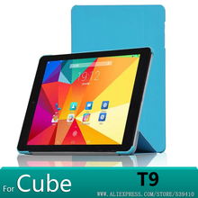 Luxury Ultra thin stand pu leather Case cover for Cube T9 9.7 inch tablet cover case +screen protector+stylus