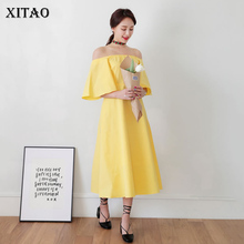Buy XITAO 2018 New Spring Korea Fashion Female Solid Color Short Sleeve Ruffles Slash Neck Pullover Knee-Length Dress TXN583 for $18.40 in AliExpress store