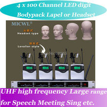 MICWL SP4 High-End UHF LED digital Wireless DJ & Karaoke Microphone System 4 Bodypack Lavalier Headset Mic
